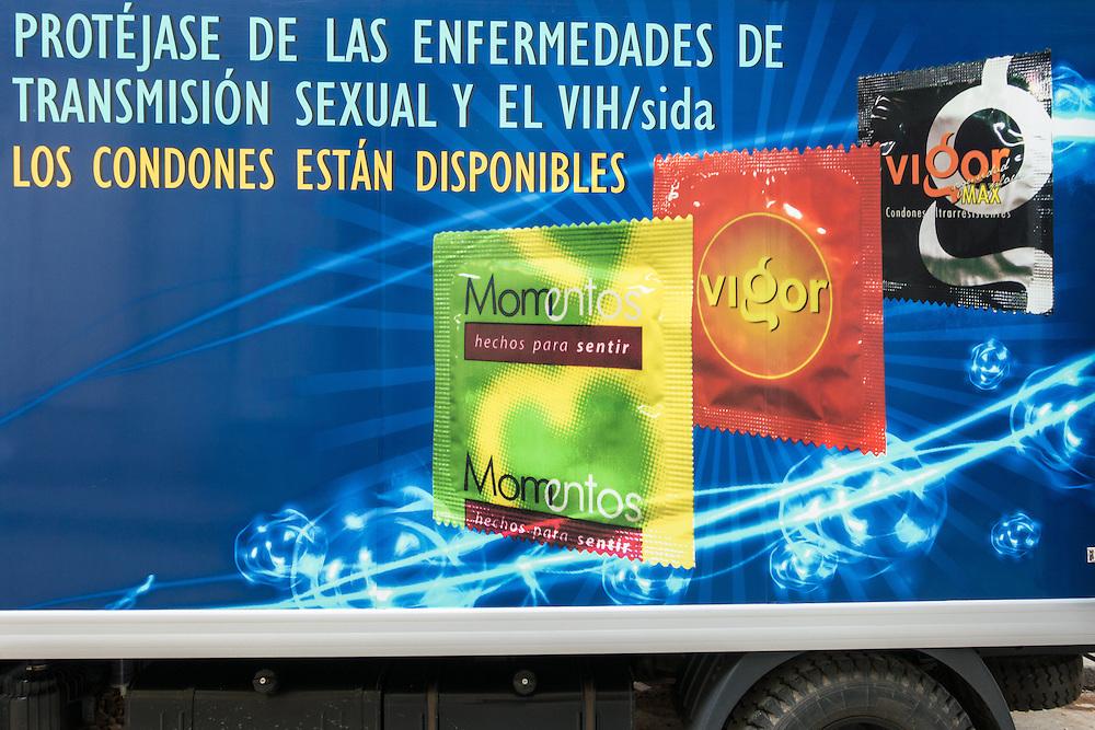 Condom ad on truck.