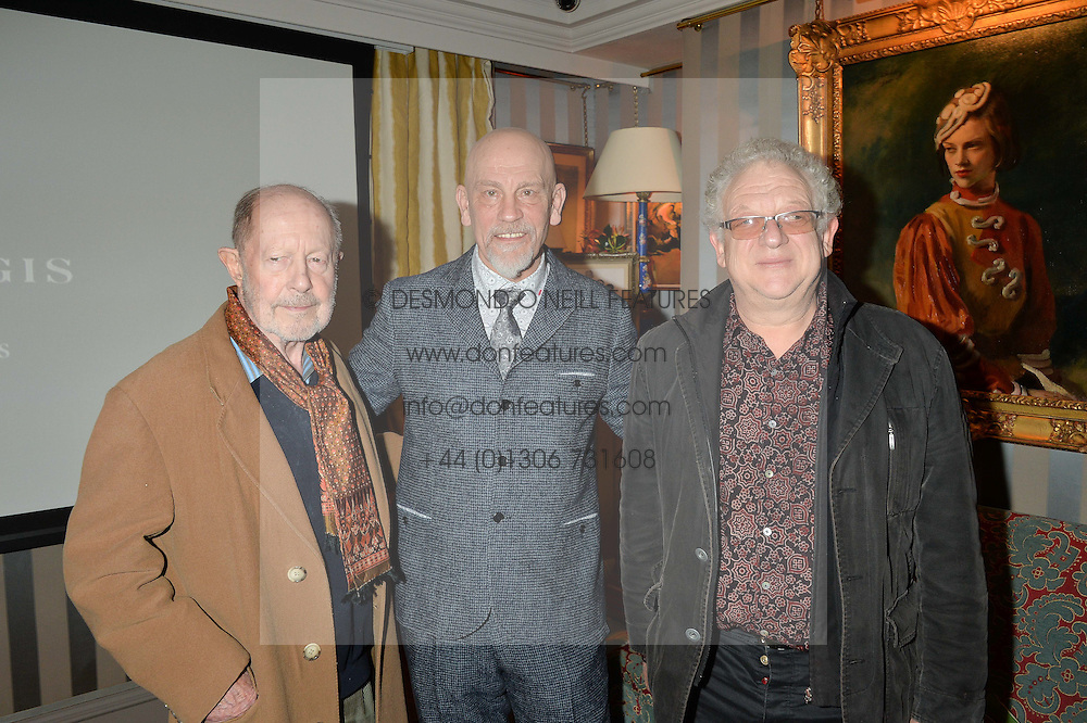 Left to right, NICOLAS ROEG, JOHN MALKOVICH and JEREMY THOMAS at a private screening of 'A Postcard From Istanbul' directed by John Malkovich In Collaboration With St. Regis Hotels & Resorts held at 5 Hertford Street, London on 3rd March 2015