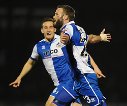 Bristol Rovers' Andy Monkhouse celebrates his goal. - Photo mandatory by-line: Dougie Allward/JMP - Mobile: 07966 386802 - 20/03/2015 - SPORT - Football - England - Memorial Stadium - Bristol Rovers v Aldershot - Vanarama Football Conference