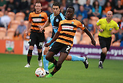 Barnet player Andy Yiadom during the Sky Bet League 2 match between Barnet and Wycombe Wanderers at The Hive Stadium, London, England on 15 August 2015. Photo by Bennett Dean.