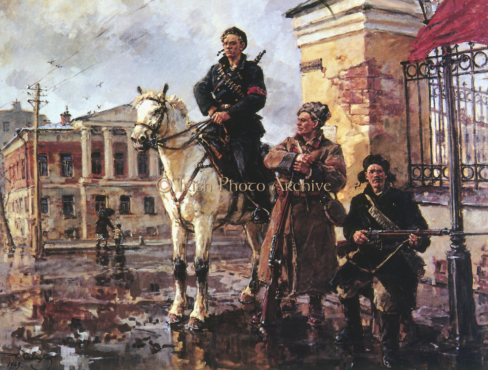 'First Days of the Revolution of October 1919'. Oil on  canvas: Georgy Savitsky (1887-1949) Russian artist. Tretyakov Gallery, Moscow.