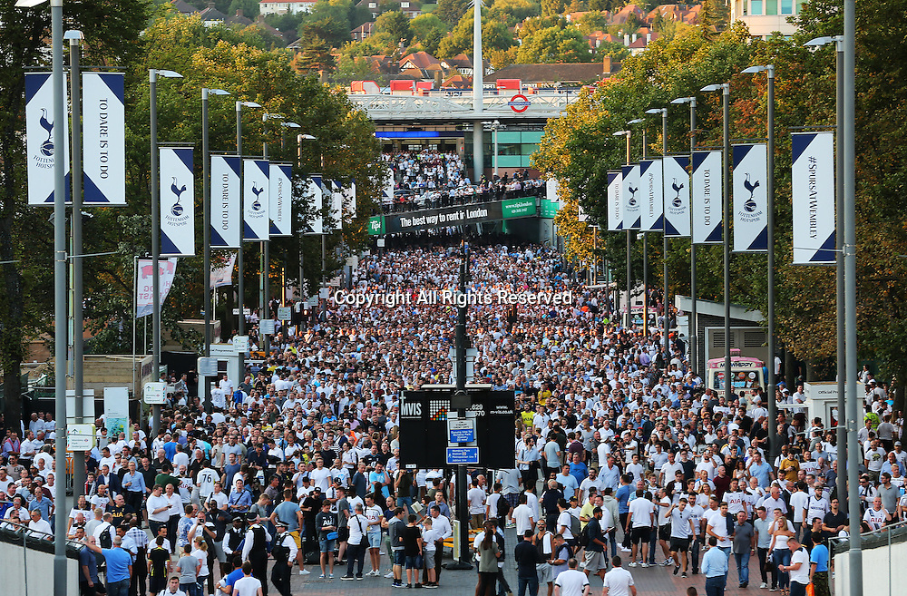 14.09.2016. Wembley Stadium, London, England. UEFA Champions League Football. Tottenham Hotspur versus Monaco. Tottenham fans make their way up Wembley Stadium Way where Spurs will play all of their Champions League matches this season due to stadium redevelopment