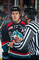 KELOWNA, CANADA - OCTOBER 13: Kyle Topping #24 of the Kelowna Rockets stands at center ice against the Tri-City Americans  on October 13, 2018 at Prospera Place in Kelowna, British Columbia, Canada.  (Photo by Marissa Baecker/Shoot the Breeze)  *** Local Caption ***