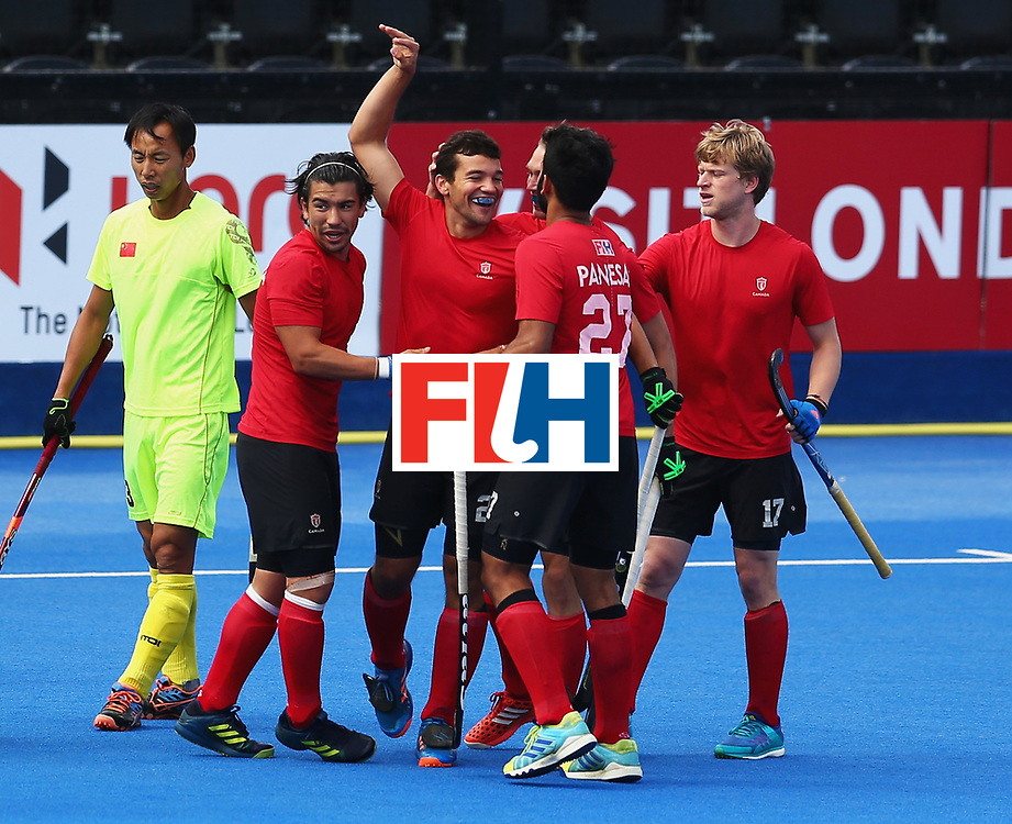 LONDON, ENGLAND - JUNE 24: Matthew Sarmento of Canada celebrates scoring his sides first goal with his Canada team mates during the 5th-8th place match between Canada and China on day eight of the Hero Hockey World League Semi-Final at Lee Valley Hockey and Tennis Centre on June 24, 2017 in London, England.  (Photo by Steve Bardens/Getty Images)