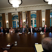 President Bush is joined by (L-R) Republican presidential nominee Sen. John McCain, House Minority Leader John Boehner, Speaker of the House Nancy Pelosi, Senate Majority Leader Harry Reid, Senate Minority Leader Mitch McConnell, and Democratic presidential nominee Sen. Barack Obama,  in the Cabinet Room of the White House Thursday, September 25, 2008.  The leaders came together to try and work out an agreement on a $700 billion bailout package...Photo by Khue Bui