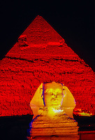 The Sphinx and the Pyramid of Khafre (Chephren) illuminated at night, Giza (outside Cairo), Egypt