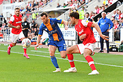 Shrewsbury Town player Shaun Whalley (7) and Rotherham United player Matt Crooks (17)  during the EFL Sky Bet League 1 match between Rotherham United and Shrewsbury Town at the AESSEAL New York Stadium, Rotherham, England on 21 September 2019.