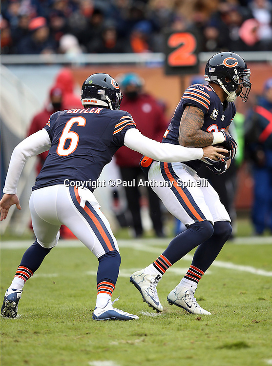 Chicago Bears running back Matt Forte (22) takes a handoff from Chicago Bears quarterback Jay Cutler (6) in the first quarter during the NFL week 17 regular season football game against the Detroit Lions on Sunday, Jan. 3, 2016 in Chicago. The Lions won the game 24-20. (©Paul Anthony Spinelli)