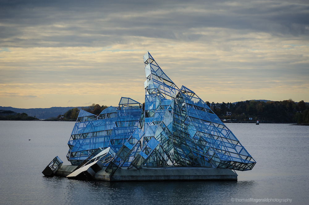 Oslo, Norway, October 2012: Artistic sculpture in the Oslo Harbor near the Oslo Opera House.EDITORIAL ONLY: This Image is only for Editorial Use