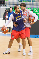 Quino Colom and Nacho Llovet during training session of Spain national team before european qualifiers to World Cup 2019 at Coliseum Burgos in Madrid, Spain. November 26, 2017. (ALTERPHOTOS/Borja B.Hojas)