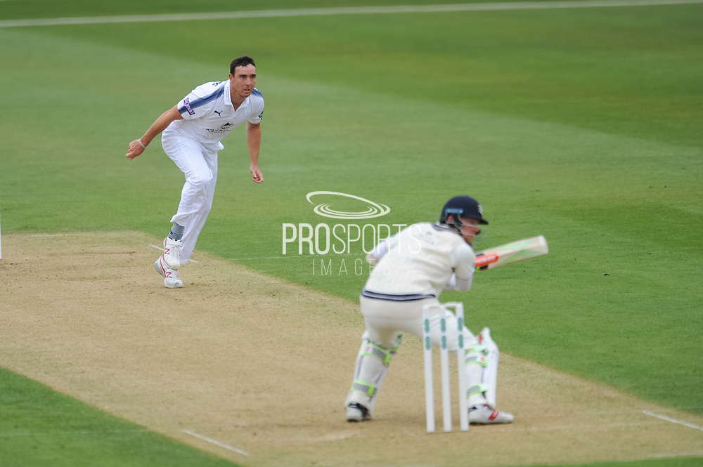 Kyle Abbott of Hampshire finds the outside edge of Sam Robson's bat but is dropped in the slips during the Specsavers County Champ Div 1 match between Hampshire County Cricket Club and Middlesex County Cricket Club at the Ageas Bowl, Southampton, United Kingdom on 14 April 2017. Photo by David Vokes.