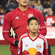 Mar 19, 2016; Harrison, NJ, USA; New York Red Bulls goalkeeper Luis Robles (31) stands with a fan before the game with the Houston Dynamo at Red Bull Arena. Red Bulls defeat the Dynamo 4-3. Mandatory Credit: William Hauser-USA TODAY Sports