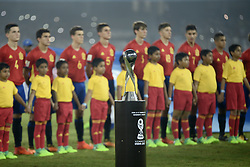 October 28, 2017 - Kolkata, West Bengal, India - FIFA U 17 World Cup India 2017 trophy displays before the Final match in Kolkata. Player of England and Spain in action during the FIFA U 17 World Cup India 2017 Final match on October 28, 2017 in Kolkata. England wins FIFA U 17 World Cup 5 - 2 goals against Spain. (Credit Image: © Saikat Paul/Pacific Press via ZUMA Wire)