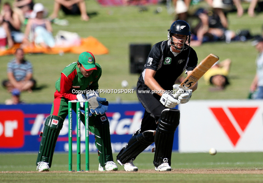 Daniel Vettori plays a shot. New Zealand Black Caps v Bangladesh. 1st ODI. McLean Park, Napier. Friday 05 February 2010  Photo: John Cowpland/PHOTOSPORT