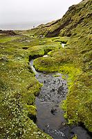 Kringilsárrani, highlands of Iceland. Small stream surrounded by green moss. Hiker in background.<br /> <br /> Á Kringilsárrana. Lækur og dýjamosi, göngumaður í baksýn.