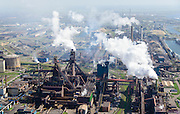 Nederland, Noord-Holland, IJmuiden , 09-04-2014; IJmuiden Steel Works van Tata Steel. De twee overgebleven hoogovens.<br /> IJmuiden Steel Works, part of Tata Steel. <br /> luchtfoto (toeslag op standard tarieven);<br /> aerial photo (additional fee required);<br /> copyright foto/photo Siebe Swart