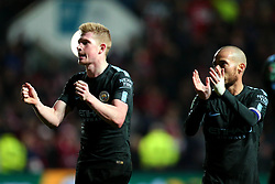 Kevin De Bruyne and David Silva of Manchester City celebrate winning against Bristol City and reaching the Carabao Cup Final - Mandatory by-line: Robbie Stephenson/JMP - 23/01/2018 - FOOTBALL - Ashton Gate Stadium - Bristol, England - Bristol City v Manchester City - Carabao Cup Semi Final second leg