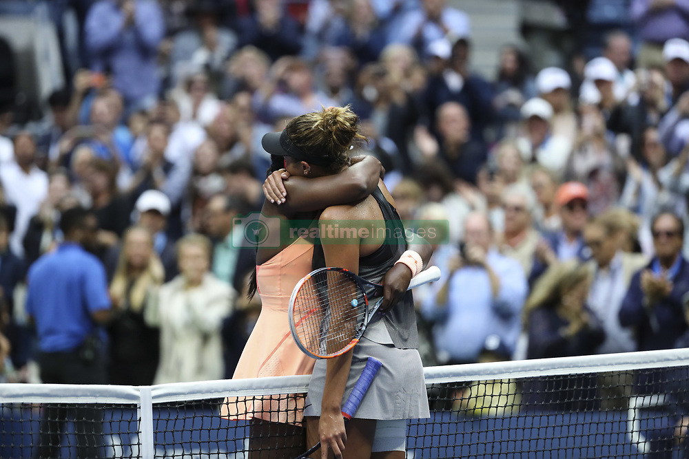 NEW YORK, Sept. 10, 2017  Sloane Stephens (Rear) of the United States hugs with her compatriot Madison Keys after winning the women's singles final match against Keys at the 2017 US Open in New York, the United States, Sept. 9, 2017. Sloane Stephens won 2-0 to claim the title. (Credit Image: © Wang Ying/Xinhua via ZUMA Wire)
