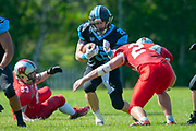 Giants Sam Broughton (#25) during the BAFA Northern Division match between Edinburgh Wolves and Sheffield Giants at Meggetland Sports Complex, Edinburgh, Scotland on 1 July 2018. Picture by Malcolm Mackenzie.