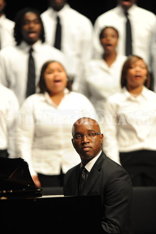 The University of Mississippi gospel choir performs at the 50th anniversary of the university's integration at the Ford Center on Monday, October 1, 2012, in Oxford, Miss. James Meredith integrated the university on Oct. 1, 1962.
