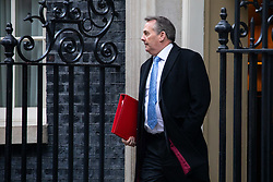 © Licensed to London News Pictures. 29/01/2019. London, UK. International Trade Secretary Liam Fox leaves 10 Downing Street after attending a Cabinet meeting this morning. Photo credit : Tom Nicholson/LNP