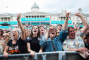 West End Live 2018 <br /> Trafalgar Square, London, Great Britain <br /> 16th June 2018 <br /> <br /> Excerpts from West End musicals perform live on stage in Trafalgar Square, London <br /> <br /> Bat Out Of Hell the Musical audience reaction <br /> <br /> Photograph by Elliott Franks
