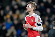 Per Mertesacker (Arsenal) with bandage during the The FA Cup fifth round match between Hull City and Arsenal at the KC Stadium, Kingston upon Hull, England on 8 March 2016. Photo by Mark P Doherty.