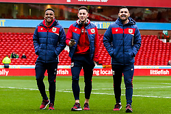Niclas Eliasson, Josh Brownhill and Bailey Wright of Bristol City arrive at the City Ground for the Sky Bet Championship fixture against Nottingham Forest - Mandatory by-line: Robbie Stephenson/JMP - 19/01/2019 - FOOTBALL - The City Ground - Nottingham, England - Nottingham Forest v Bristol City - Sky Bet Championship