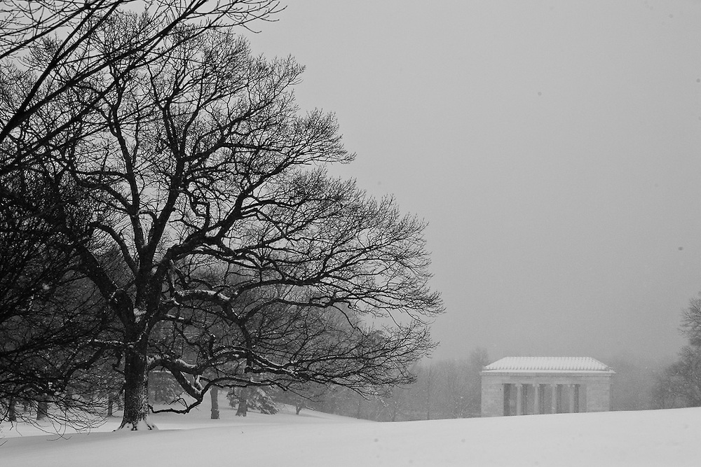 An early March snow storm blankets Roger Williams Park