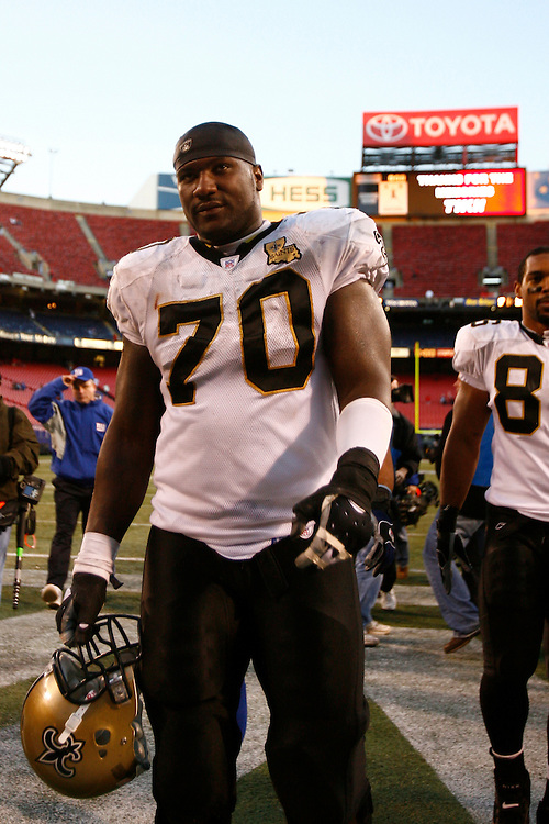 EAST RUTHERFORD, NJ - DECEMBER 24: Offensive Lineman Jammal Brown #70 of the New Orleans Saints walks off the field after a game against the New York Giants on December 24, 2006 at Giants Stadium in East Rutherford, New Jersey. The Saints defeated the Giants 30-7.