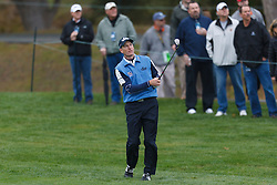 Feb 11, 2012; Pebble Beach CA, USA; Jim Furyk hits his second shot on the third hole during the third round of the AT&T Pebble Beach Pro-Am at Pebble Beach Golf Links. Mandatory Credit: Jason O. Watson-US PRESSWIRE