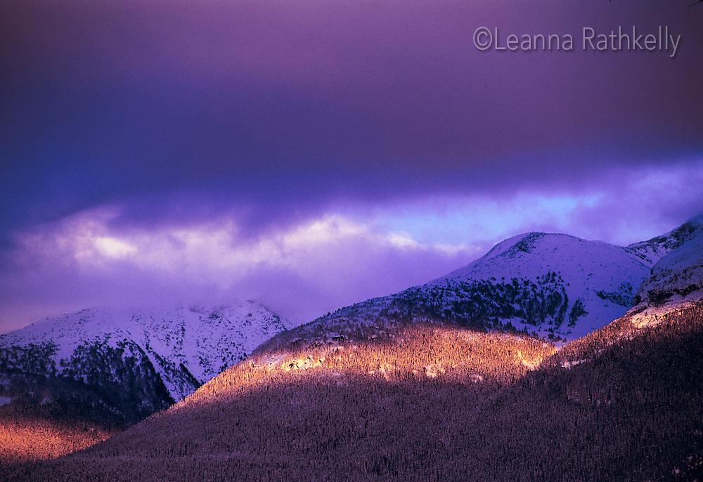 Sunlight stripe across the mountains near Whistler, BC