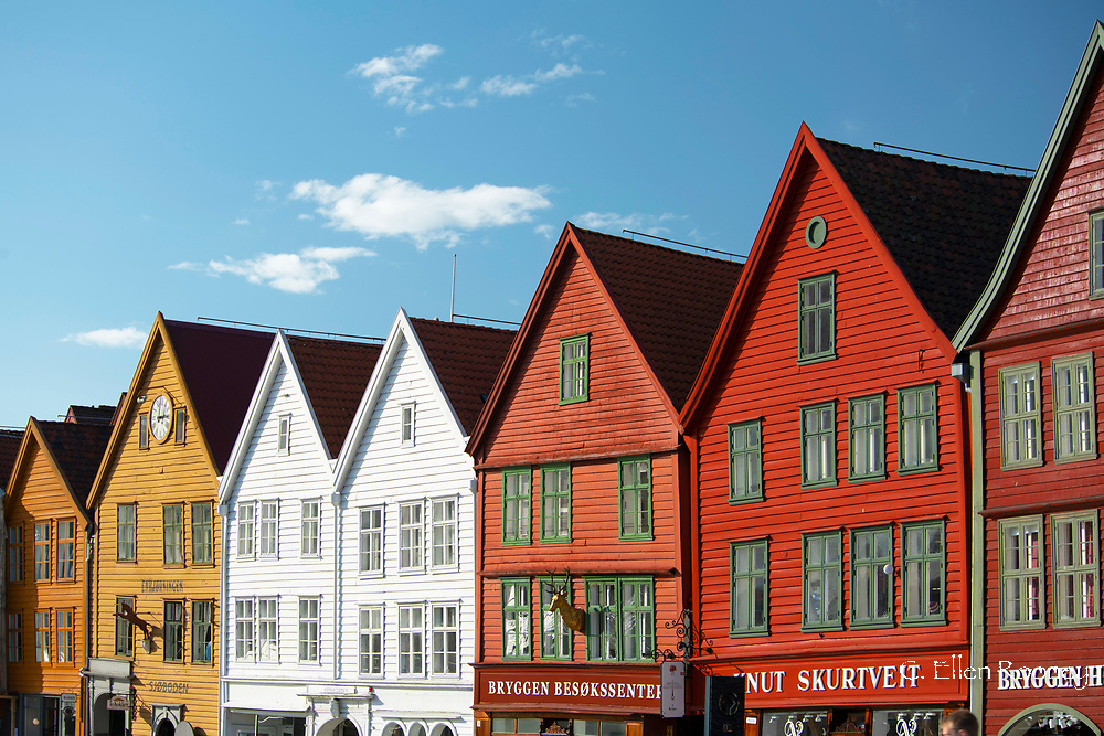 Colourfully painted timber buildings in Bryggen, the old harbour in Bergen, Norway, Europe