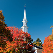 Church steeple with fall colors, on the green at Lexington MA