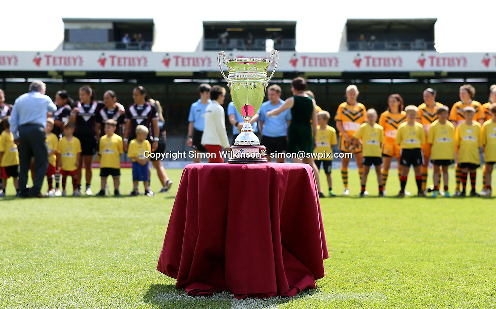 PICTURE BY VAUGHN RIDLEY/SWPIX.COM - Rugby League - Festival of World Cups, Women's Final - Australia Women v New Zealand Women - Headingley, Leeds, England - 14/07/13 - Women's Rugby League World Cup Trophy.