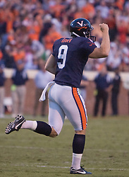 Virginia kicker Chris Gould (9) celebrates after hitting a game winning field goal.  The Virginia Cavaliers defeated the Connecticut Huskies 17-16 at Scott Stadium in Charlottesville, VA on October 13, 2007