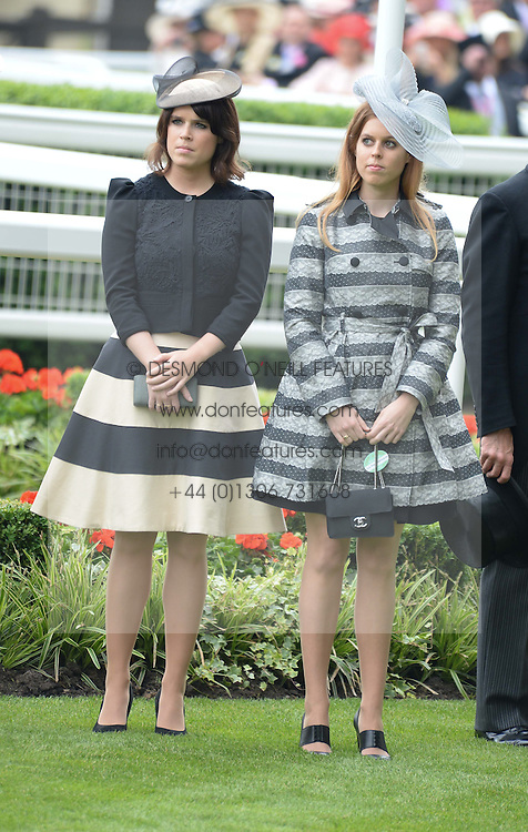 Left to right, PRINCESS EUGENIE OF YORK and PRINCESS BEATRICE OF YORK at Day 1 of the 2013 Royal Ascot Racing Festival at Ascot Racecourse, Ascot, Berkshire on 18th June 2013.