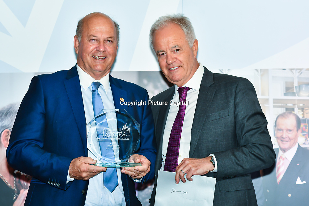 Martin Young Present Winner of  Local Hero – Malcolm Dent of the 7th annual Churchill Awards honour achievements of the Over 65's at Claridge's Hotel on 10 March 2019, London, UK.