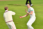 Wicket - Craig Overton of Somerset celebrates taking the wicket of Dane Vilas of Lancashire during the Specsavers County Champ Div 1 match between Somerset County Cricket Club and Lancashire County Cricket Club at the Cooper Associates County Ground, Taunton, United Kingdom on 14 September 2017. Photo by Graham Hunt.