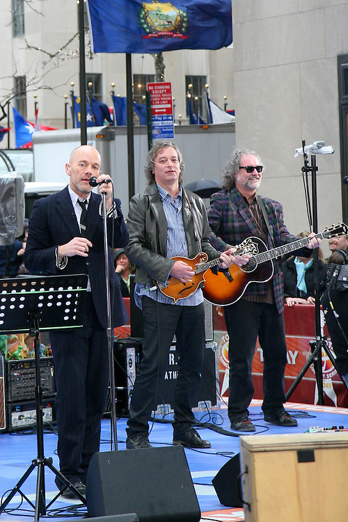 "REM performs on NBC's The Today Show in support of their new album, ""Accelerate"" on April 1, 2008.  Band members Michael Stipe, Peter Buck and Mike Mills.  Photo credit © Michael Gottlieb"