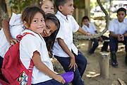 Children in school uniforms at the primary school in the town of Coyolito, Honduras on Wednesday April 24, 2013.