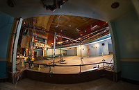 Colonial Theater renovation progress.  Taking the last steel bar joists to open up the main stage area.  Reveal of the grand drape.  ©2016 Karen Bobotas Photographer