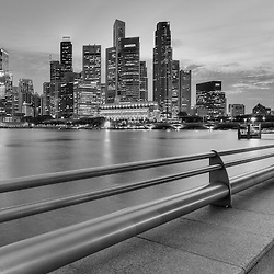 The Singapore skyline at night.