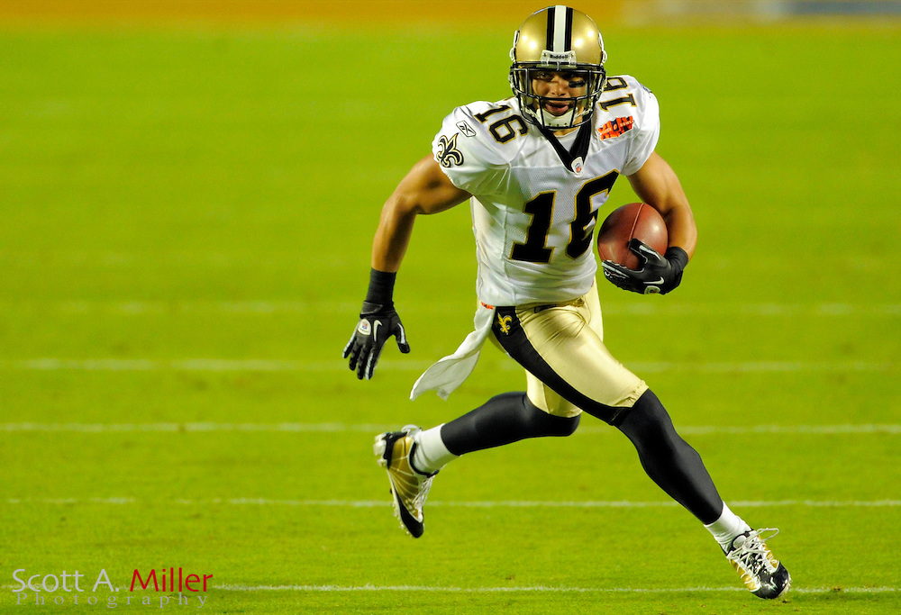 Feb 7, 2010; Miami, FL, USA; New Orleans Saints wide receiver Lance Moore (16) runs during the second quarter of Super Bowl XLIV against the Indianapolis Colts at Sun Life Stadium. ©2010 Scott A. Miller