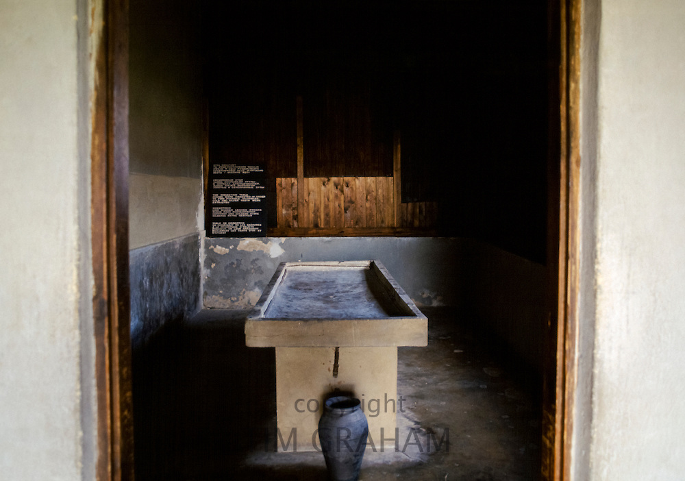 The Dissection Table used when extracting body parts, gold and silver from holocaust victims at Majdanek Concentration Camp, Poland