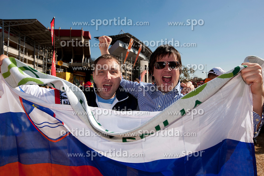 Slovenian fans enjoy the atmosphere ahead of the 2010 FIFA World Cup South Africa Group C match between Slovenia and USA at Ellis Park Stadium on June 18, 2010 in Johannesberg, South Africa. (Photo by Vid Ponikvar / Sportida)