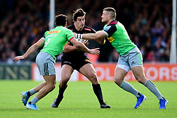 Tom Hendrickson of Exeter Chiefs is marked by Matt Symons of Harlequins and Mike Brown of Harlequins - Mandatory by-line: Ryan Hiscott/JMP - 19/10/2019 - RUGBY - Sandy Park - Exeter, England - Exeter Chiefs v Harlequins - Gallagher Premiership Rugby