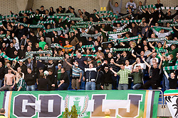 Green Dragons, fans of Olimpija at football match of 31st Round of 1st Slovenian League  between NK Olimpija and NK Maribor, on April 16, 2010, in ZAK Stadium, Ljubljana, Slovenia. (Photo by Vid Ponikvar / Sportida)