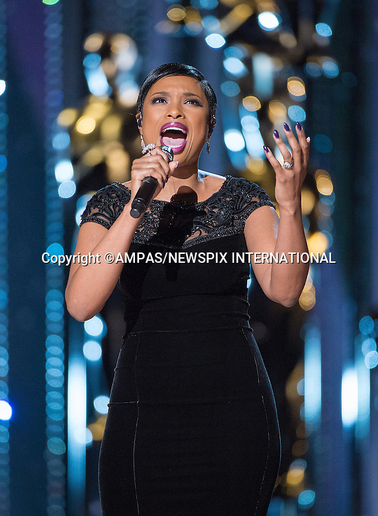 22.02.2015; Hollywood, California: 87TH OSCARS -  JENNIFER HUDSON<br /> performs during the Annual Academy Awards Live Telecast, Dolby Theatre, Hollywood.<br /> Mandatory Photo Credit: NEWSPIX INTERNATIONAL<br />               **ALL FEES PAYABLE TO: &quot;NEWSPIX INTERNATIONAL&quot;**<br /> <br /> PHOTO CREDIT MANDATORY!!: NEWSPIX INTERNATIONAL(Failure to credit will incur a surcharge of 100% of reproduction fees)<br /> <br /> IMMEDIATE CONFIRMATION OF USAGE REQUIRED:<br /> Newspix International, 31 Chinnery Hill, Bishop's Stortford, ENGLAND CM23 3PS<br /> Tel:+441279 324672  ; Fax: +441279656877<br /> Mobile:  0777568 1153<br /> e-mail: info@newspixinternational.co.uk