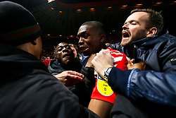 Anfernee Dijksteel of Charlton Athletic celebrates with fans after beating Doncaster Rovers on penalties in the Sky Bet League One Playoff Semi Final - Mandatory by-line: Robbie Stephenson/JMP - 17/05/2019 - FOOTBALL - The Valley - Charlton, London, England - Charlton Athletic v Doncaster Rovers - Sky Bet League One Play-off Semi-Final 2nd Leg